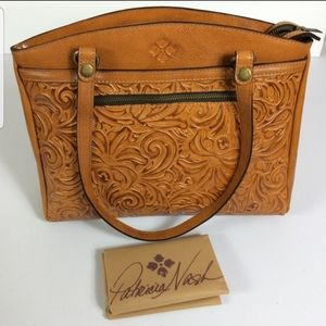 Patricia Nash Burnished Tooled Poppy Gold Tote